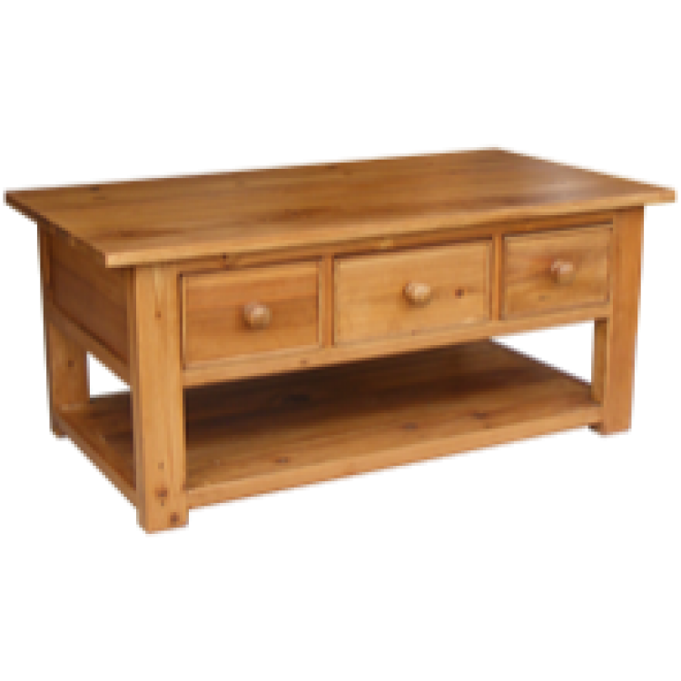 Rustic pine coffee table 3 drawer Pine coffee table with drawers
