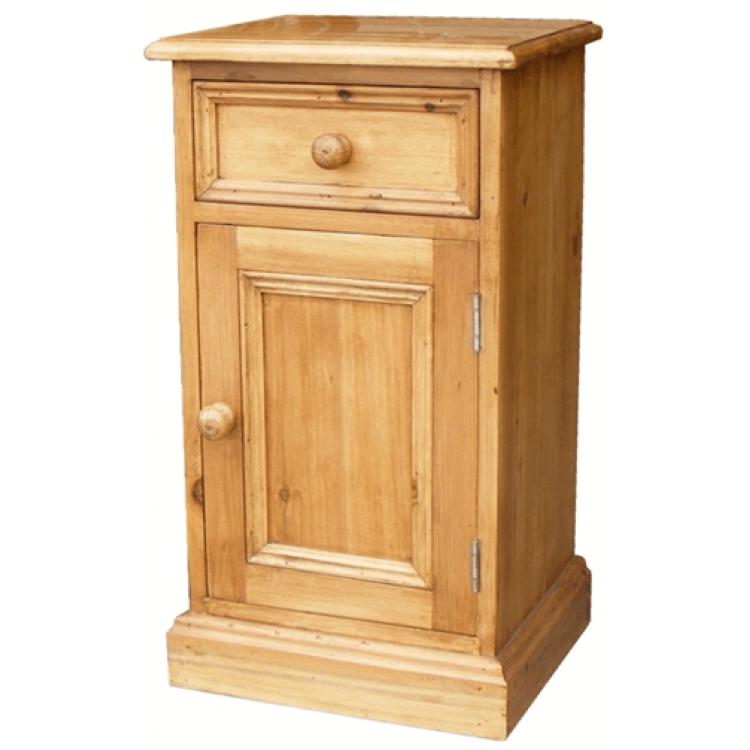 Reclaimed Bedroom Bed Cabinet RH Door - Antique Pine Bedside Cabinet (1 Drawer) RH Door